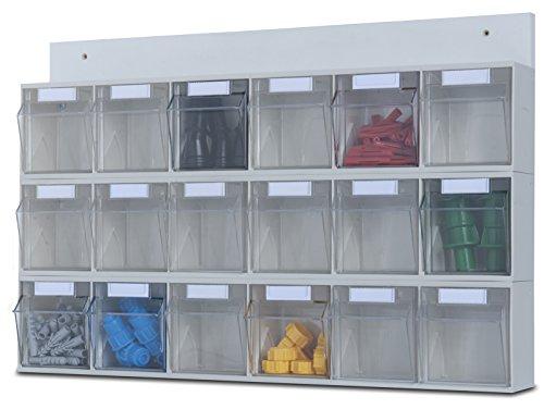 hünersdorff Wand-Set Multistore-Lagersystem, 18 Klarsichtbehälter, 1 Stück, lichtgrau, 461118
