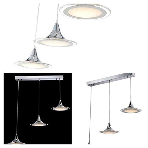 LED Hängelampe 3 flammig Esszimmerlampe Hängeleuchte Pendelleuchte Glas (Pendellampe, Deckenlampe, Deckenleuchte, Esstischleuchte, 79 cm, Höhe 100 cm, 2 x 7 Watt)
