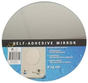 K2M - 82845 - Miroir adhesif rond avec autocollants de fixation - 24 cm