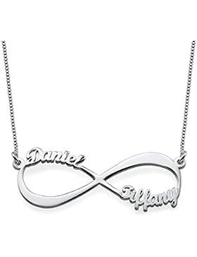 Infinity - Unendlich Namenskette 925 Sterling Silber - Personalisiert mit Ihren eigenen 2 Namen
