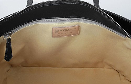 StilGut® Shopper borsa in saffiano made in italy Nero