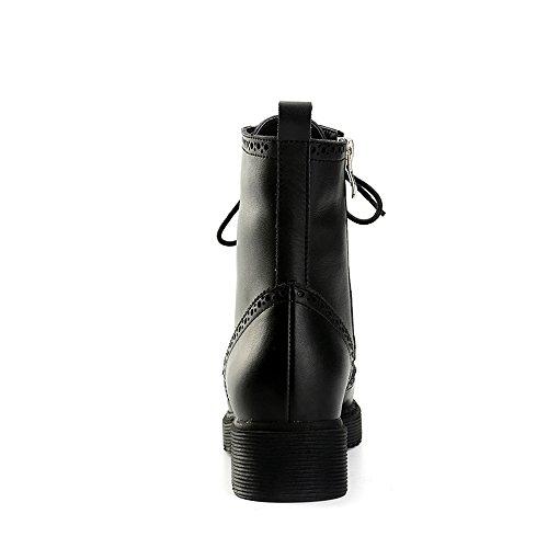 Alexis Leroy Klassisch Leder Brogue Schnürhalbschuhe Damen Combat Boots Schwarz