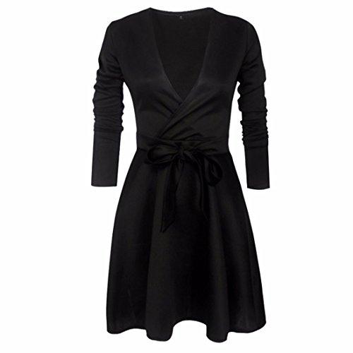 QIYUN.Z Femmes V Cou Manches Longues Bowknot Ceintures Tunique A-Line Plissé Robe Noir
