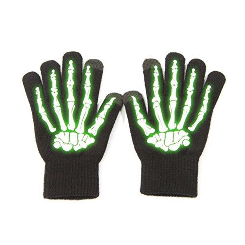 Touchscreen -Handschuhe-Wärmer-Winterhandschuhe-Sport-Skeletton-GLOW IN THE DARK Einheitsgröße (The In Dark Glow Handschuhe)