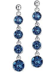 Ohrhänger mit Swarovski Kristallen in blau.