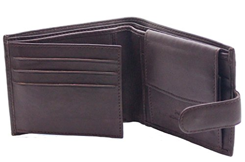 Men's High Quality Luxury Soft Black Tri Fold Leather Wallet - Id Window - Credit Debit Card Holder - Coin Pocket Braun