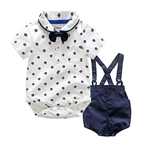 LEHOUR Baby Jungen 2 Stücke Taufe Anzüge Bowtie Shirt Top + Hosenträger Strap Shorts, Formale Kinder Party Outfit Gentleman Kleidung Sets 0-24 M (Baby Outfit Boy Taufe)