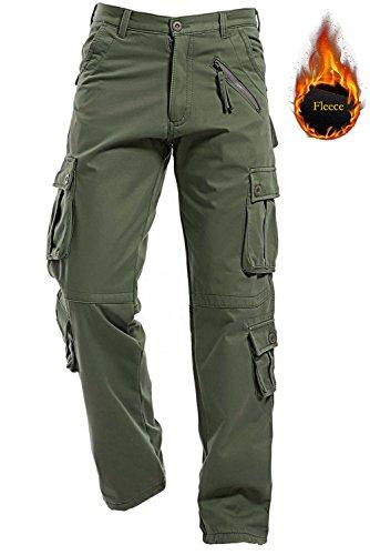 AIZESI Men Winter Polar Fleece Lining Warm Trousers Thicken Cargo Camo Work Pants