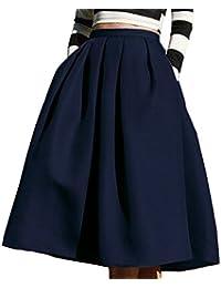 52cbfff3f85e6 Winfon Femme Jupe Patineuse Taille Haute Vintage Mi Longue Chic Rétro Midi  Jupe Plissée