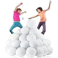 Pack XL 50 grandes boules de neige pour intérieurs à sensation craquante réelle pour bataille ultime de boules de neige. 7.7CM, pas de désordre, pas de neige fondue, aucune fonte et des heures de plaisir