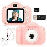 Miunana Digitale Kamera für Kinder Robuste HD Kinderkamera 2,0 Zoll 13 Megapixel 1080p Videokamera Fotoapparat Digitalkamera mit 32GB Speicherkarte und Kartenleser