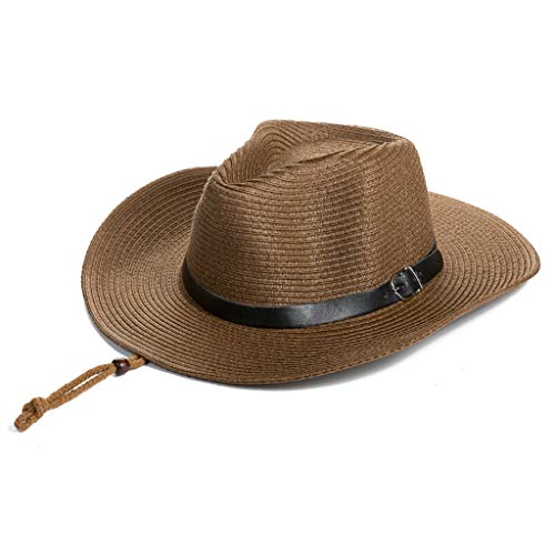 ZXPzZ Hüte Braid Stroh Short Brim Jazz Cap Trilby Hut Sonnenhüte Für Strand Safari Hut Für Männer Frau Verstellbarer Hut (Color : Dark Brown) -
