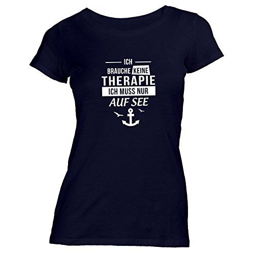 Damen T-Shirt - Ich Brauche Keine Therapie ich muss nur auf See - Anker Möwen Maritim Schwarz