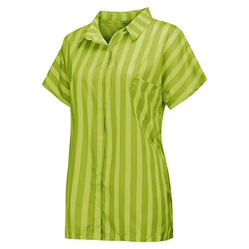 Produp Damen Mode Kurzarm gestreiften gedruckten Hemdknopf Wild Bequem Tasche Top Bluse T-Shirts (Plus Size Snake Print Leggings)