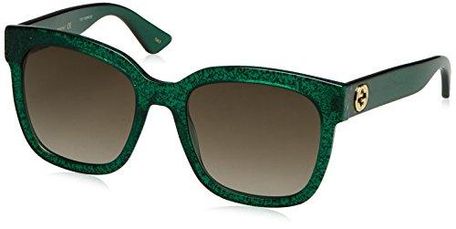 Gucci Damen GG0034S 007 Sonnenbrille, Grün (Green/Brown), 54