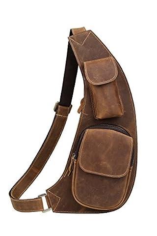 BAIGIO Herren Leder Bodybag Brusttasche Retro Sporttasche Crossbag Bauchtasche Umhängetasche Freizeit aus echtem Leder Tasche ,Braun