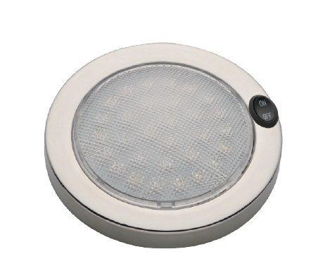 LIGHTEU, 12 V / 2.2 W, 140 MM, 316L Edelstahl, Design-LED Dome Licht Deckenleuchte Mit Schalter (warmweiß) für Boot, Yacht und Caravan, Wohnmobil, Wohnmobil, RV [Energieklasse A] (12 Led Rv-lichter)