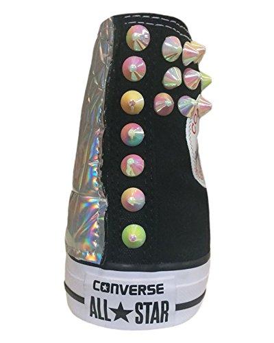 Lamina Borchie con Color Nero e Star All HF Converse Applicazione Teschio Iride Lavorazione Argento Effetto 67wYxPqxFE
