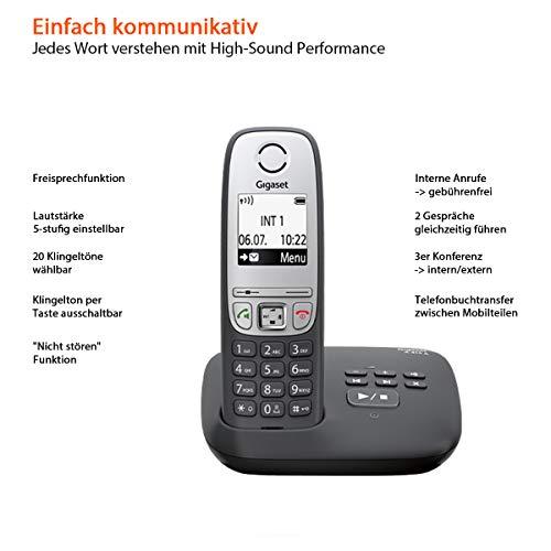 Gigaset A415A Telefon – Schnurlostelefon / Mobilteil mit Grafik Display – Dect-Telefon mit Anrufbeantworter / Freisprechfunktion – Analog Telefon – Schwarz - 2