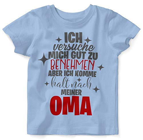 Mikalino Baby/Kinder T-Shirt mit Spruch für Jungen Mädchen Unisex Kurzarm Ich versuche Mich gut zu benehmen | handbedruckt in Deutschland | Handmade with Love, Farbe:Sky, Grösse:92/98