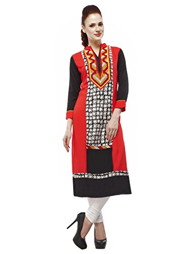 3/4 sleeve Cotton Embroidered kurtis Red