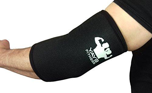 YAYB Ellenbogen-Bandage, 7mm, stark, ein Paar, für Powerlifting, Crossfit, Gewichtheben, Bodybuilding, mit verstärkter Einzelnaht für beste Kompression und Langlebigkeit, aus Neopren, Schwarz , XXXL