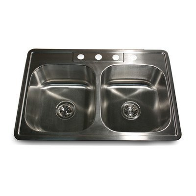 Nantucket Sinks NS3322-DE-9 33-Inch Drop-In Double Bowl Stainless Steel Kitchen Sink by Nantucket Sinks (Küchenspüle 33 Zoll)