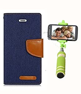 Aart Fancy Wallet Dairy Jeans Flip Case Cover for NokiaN520 (NavyBlue) + Mini Fashionable Selfie Stick Compatible for all Mobiles Phones By Aart Store