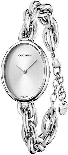 Calvin Klein Damen-Uhren Analog Quarz One Size Silber Edelstahl 32011476