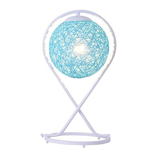 LIU RUOXI Moderne Tischlampe, Schreibtischlampe Für Wohnzimmer und Schlafzimmer-Eiserne Dekoration, Handgemachtes Urlaubsgeschenk (Weiß),Blue