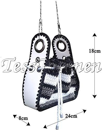 Damen Schultertasche Schwarz und weiß Handtasche Gestrickte Crossbody Taschen Exklusive Schultertasche Kleine Umhängetasche Designer Tasche -