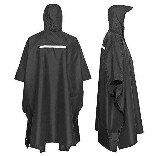 41ijaUzTx L. SS500  - AWHA rain poncho black, unisex - the extra long rain cover with a zipper and chest pocket