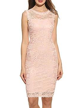 Damen Kleider Longra Abendmode Damen Sommerkleid Elegant Kleider Vintage Ärmellos Spitzenkleid Ballkleid Cocktailkleid...