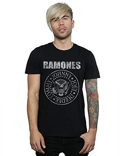 Ramones hombre Distressed Seal Camiseta X-Large Negro