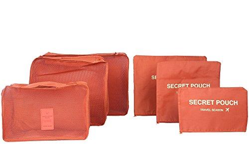 6 buste impermeabili, per vestiti e oggetti, di forma squadrata, ideali per viaggio arancione Light red