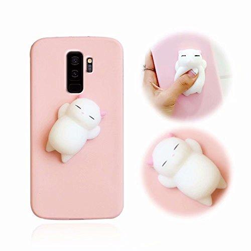 en, MingKun 3D Squeeze Cartoon Cute TPU Silikon Case Cover für Samsung Galaxy S9 Plus Handyhülle Pinch Kneifen Weich Schutzhülle mit Anti-Kratzer Stoßdämpfende - Pink Katze ()