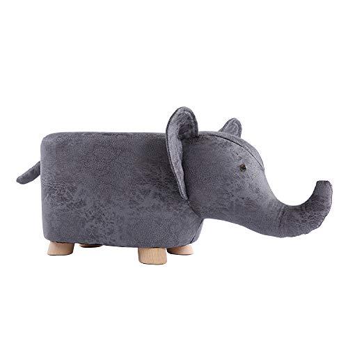 Sofa Hocker Kinder Hocker ändern Schuhe Hocker Kreative Cartoon Tuch Bank Holz 4 Beine Hoch Elastische Schwamm Füllung (lagergewicht 100 Kg),Elephant+darkgray (Elephant Bank)