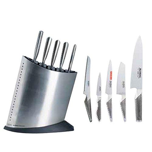 Global Messerblock Set 6tlg. - bestückt mit 5 Messern Yoshikin