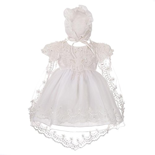 Lito Angels Baby Girls' Beaded Scalloped Embroideries Baptism Christening Gown Dress With Cape Bonnet Infant Size 0-18m CN008