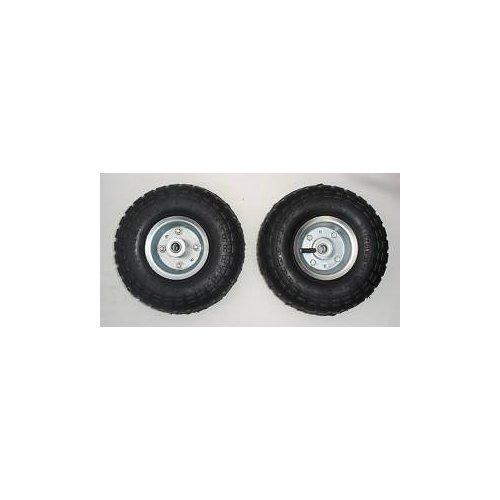 Lot de 2 roues pneumatiques pour diable / trolley / brouette 25,4cm