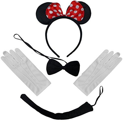 Schwarz, Rot, Weiß Tupfen Minnie Mouse Ohren und Schwanz und Handschuhe (Punk-rock Kleidung Kinder)