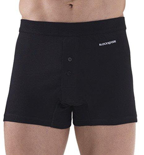 Blackspade Herren Premium Loose Fit 100% Baumwolle Boxershorts mit Button Fly, weiß oder schwarz, S-4X L Gr. Small, schwarz -