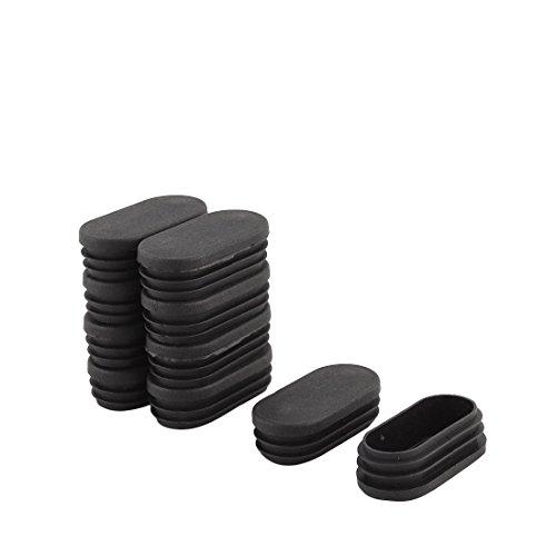 Sourcingmap® Pieds Table en Plastique Conception Ovale Embout Tube Tuyau Insérer Noir 30mm x 60mm 10Pcs