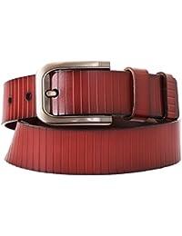 Schmick Brown Genuine Leather Fine Stripe Design Belt For Men