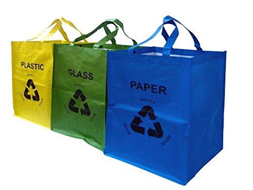 Juego 3 bolsas colores reciclado cristal, plástico