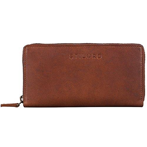 STILORD 'Mila' Klassisches Portemonnaie Damen Geldbörse groß mit Reißverschluss EC-Karten Fächer Quer Leder, Farbe:Cognac - braun