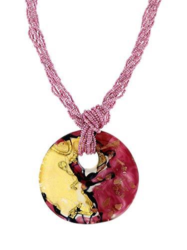 Venetiaurum - Collana multifili con pendente in vetro originale di Murano e in Argento 925 - Gioiello made in Italy certificato
