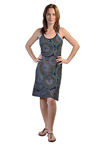 Women's Summer Sleeveless Strap Dress with Colorful Ilusion Ring Pattern Print-Ilusion Multicolore