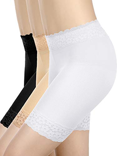 Boao 3 Stücke Spitze Shorts Unterwäsche Yoga Shorts Strecken Sicherheit Leggings Unterhose für Damen Mädchen (Set 1, M - L Größe) -