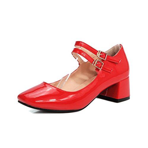 VogueZone009 Femme Pu Cuir Couleur Unie Boucle Carré Fermeture D'Orteil à Talon Correct Chaussures Légeres Rouge